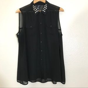 Torrid Button Front Blouse with Studded Collar